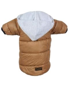 Petsworld Full Sleeve Winter Puff Jacket With Hoodie For Dogs Size 16 Brown