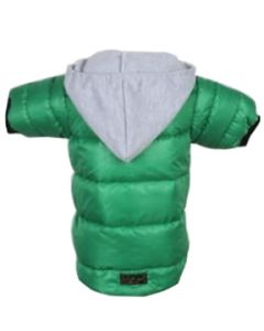 Petsworld Full Sleeve Winter Puff Jacket With Hoodie For Dogs Size 14 Green
