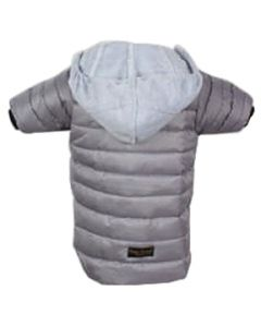 Petsworld Full Sleeve Winter Puff Jacket With Hoodie For Dogs Size 28 Grey