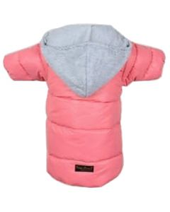 Petsworld Full Sleeve Winter Puff Jacket With Hoodie For Dogs Size 12 Pink