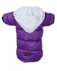 Petsworld Full Sleeve Winter Puff Jacket With Hoodie For Dogs Size 26 Purple