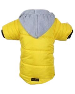 Petsworld Full Sleeve Winter Puff Jacket With Hoodie For Dogs Size 16 Yellow