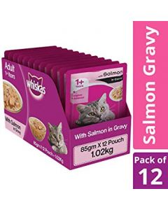 Whiskas Adult Salmon in Gravy 85 gms x 12 pcs