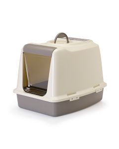 Savic Sphinx Cat Toilet Warm Grey/Ivory - LxBxH : 55 x 42.5 x 41.25 cm (22x17x16.5 inch)