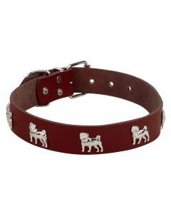 Petsworld High Quality Adjustable Dog Collar with Dog Shape Metal Stud- 3 cm (Brown)