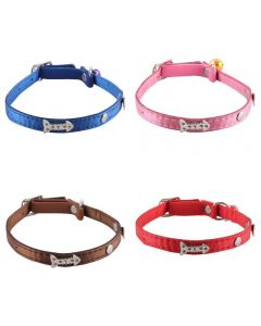 Petsworld High Quality Silver Fish Bone Design Collar with Bell for Puppy/Cat