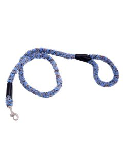 Petsworld Extra Soft Grip Fur Dog Leash With Brass Snap Hook Blue Brown