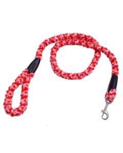 Petsworld Extra Soft Grip Fur Dog Leash With Brass Snap Hook Red Pink