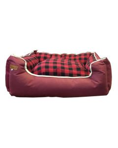 Petsworld Dual Side Use Waterproof Canvas & Clothing Dog Bed Maroon Small