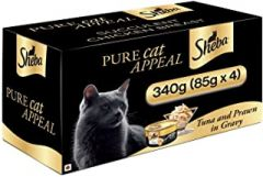 Sheba Premium Wet Cat Food Food, Tuna Fillet & Whole Prawns in Gravy, 4 Cans (4 x 85g)