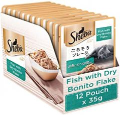 Sheba Premium Wet Cat Food Food, Fish with Dry Bonito Flake, 12 Pouches (12 x 35g)