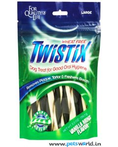 Twistix Dental Dog Treats Vanilla Mint Flavor Large