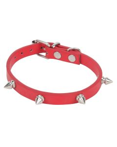 Petsworld High Quality Adjustable Puppy Collar with Triangular Metal Rivet Studs Design-1 cm Width (Red)