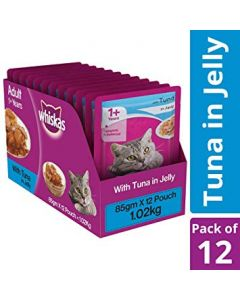 Whiskas Adult Wet Cat Food Tuna in Jelly 85 gm X 12 Pcs