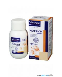 Virbac NUTRICH Tablets  Supplement of Vitamins and Minerals for Pets 30 Tablets