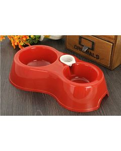 Petsworld Plastic Pets Food and Water Bowl Feeder for Small Medium Dogs & Cats Red