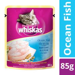 Whiskas Adult (+1 year) Wet Cat Food Food, Ocean Fish, 85g Pouch