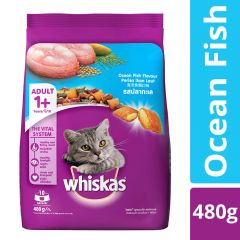 Whiskas Adult (+1 year) Dry Cat Food Food, Ocean Fish Flavour, 480g Pack