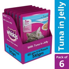 Whiskas Adult (+1 year) Wet Cat Food Food, Tuna in Jelly, 6 Pouches (6 x 85g)