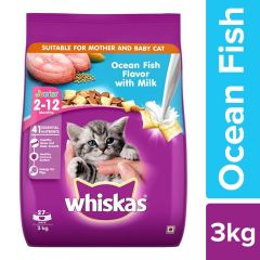 Whiskas Kitten (2-12 months) Dry Cat Food, Ocean Fish Flavour with Milk 3kg Pack