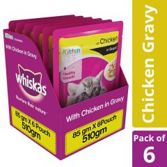 Whiskas Kitten (2-12 months) Wet Cat Food Food, Chicken in Gravy, 6 Pouches (6 x 85g)