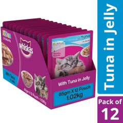 Whiskas Kitten (2-12 months) Wet Cat Food Food, Tuna in Jelly, 12 Pouches (12 x 85g)
