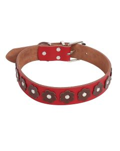 Petsworld High Quality Adjustable Dog Collar 1.1. Inch Round Spike Studs with Flower (Red Brown)