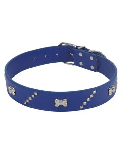 Petsworld High Quality Adjustable Dog Collar 1.2 Inch with Metal Rivet Studs Design (Blue)