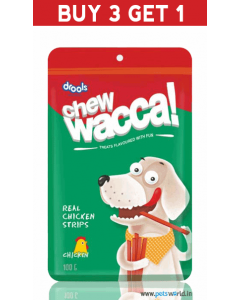 Drools Chew Wacca Real Chicken Strips 150 gms BUY 3 GET 1