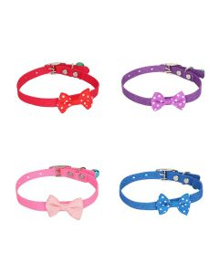 Petsworld High Quality Designer Adjustable Polka Dot Bow Design Nylon Collar with Bell for Puppy/Cat-1 cm (Combo)