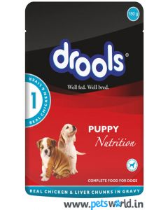 Drools Dog Food Puppy Real Chicken and Liver Chunks in Gravy 150 gms 12 pcs