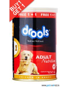 Drools Adult Chicken in Gravy Dog Food 400 gms Buy 1 Get 1