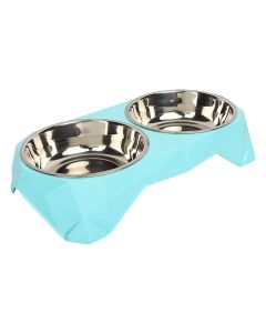 Petsworld Food & Water Removal Stainless Steel 2 in 1 Bowl Set for Dog Blue