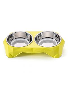 Petsworld Food & Water Removal Stainless Steel 2 in 1 Bowl Set for Dog Yellow