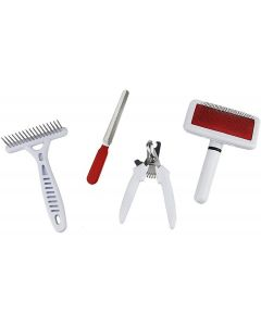 Petsworld Professional Pet Grooming Kit for Dog and Cat Four Tools White (Small)