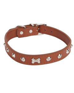 Petsworld High Quality Adjustable Dog Collar 0.7 Inch with Metal Spike Studs (Brown)