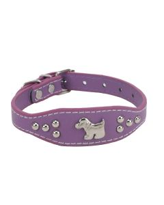 Petsworld Imported High Quality Adjustable Dog Collar 0.7 Inch with Metal Studs (Purple)