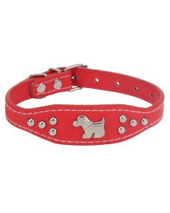 Petsworld Imported High Quality Adjustable Dog Collar 0.7 Inch with Metal Studs (Red)