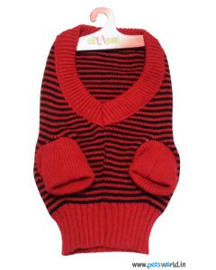 All4Pets Dog Sweater in Red And Black Striped Size 12