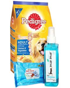 Pedigree Chicken and Vegetables 3 Kg Adult Dog Grooming Combo
