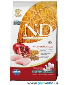 Farmina N&D Low Grain Chicken & Pomegranate Adult Dog Food 2.5 Kg ( Medium)