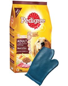 Pedigree Adult Dog Combo Meat and Rice 10 Kg + Dog Bathing Glove