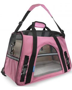 Petsworld Airline Approved Soft Sided Kennel with Fleece Bed for Dog and Cat Pink