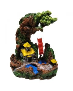 Aquatic Small Yellow House Under Sculpture Stone For Aquarium Decoration