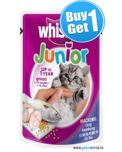Whiskas Junior Mackerel 85 gms BUY 1 GET 1