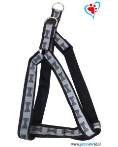 Petsworld Bone Mark Reflective Dog Harness - Black