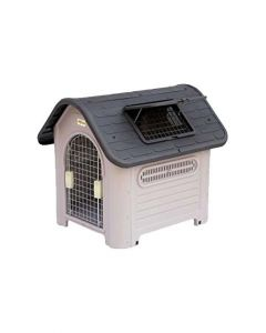 All4Pets Fibre Pet Hut with Door/Chimney Large Blue/Grey  LxWxH - 62x19.5x89.5 cm