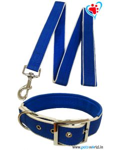 Petsworld Premium Padded Dog Collar With Leash (Blue)