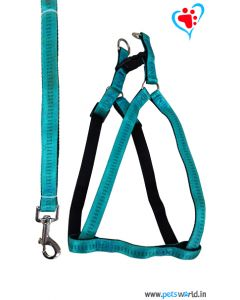 Petsworld Premium Padded Dog Harness + Leash Set For Small Dogs (Blue)