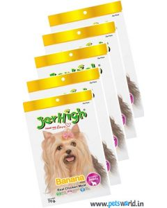 Jerhigh Dog Treats Banana Fruity Stick 70 gms 5 Pcs Combo